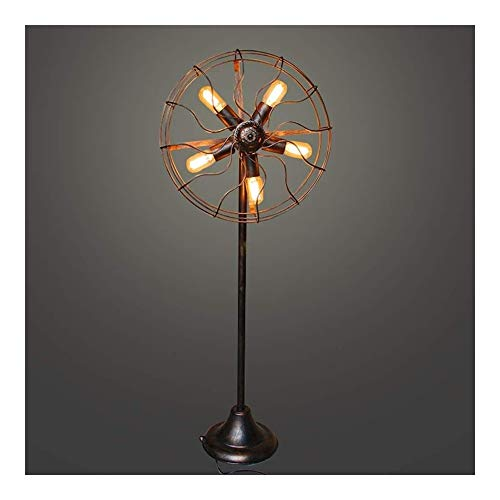 Outdoors 5 Lichter Amerikanische Stehlampe Industrie Retro Fan Draht Metall-Käfig E27 / E26 Schmiedeeisen Wasserrohr Stehen Lampe for Wohnzimmer Schlafzimmer Nacht Bronze Fußboden-Licht