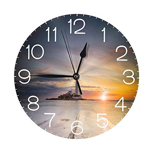 Decoración para el hogar Faro de marea baja ronda reloj de pared silencioso sin garrapatas arte para sala de estar, cocina, dormitorio