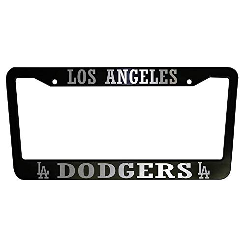 ClustersNN Bhartia Los Angeles Dodgers La Black Chrome License Plate Frame Stainless Metal Tag Holder 12