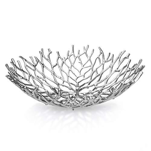 Kaloogo® Obstschale/Brotkorb/Dekoschale aus Metall 42cm (Silber)
