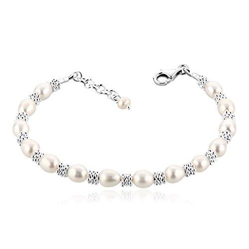 Nenalina 723046-842 - Pulsera para mujer con perlas de agua dulce de 6mm y anillos de plata, longitud 18,5cm, con cierre de mosquetón de plata de ley 925