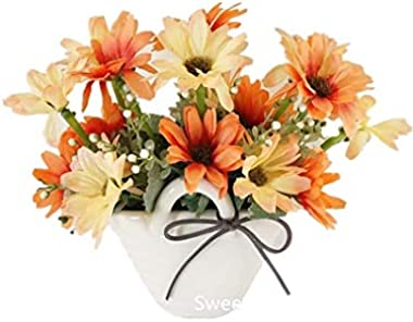 Sweet Home Deco 7''T Silk Daisy Floral Arrangement in Basket Shape Ceramic Vase Table Bonsai Home Decorate Flowers (O