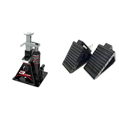 Powerbuilt Alltrade 640912 Black 3 Ton, All-in-One Bottle Jack & MaxxHaul 2 Pack 70472 Solid Rubber Heavy Duty Black Wheel Chock, 8' Long x 4' Wide x 6' high-2 Pack, 2 Pack