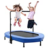 Aceshin Kids Trampoline Mini Rebounder with Adjustable Handle Foldable Trampoline for 2 Kids Toddler Indoor Outdoor Play Fitness Exercise Workout Max Load 220 lbs