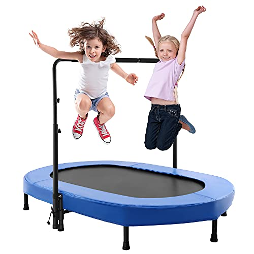 aldi trampolines Aceshin Kids Trampoline Mini Rebounder with Adjustable Handle Foldable Trampoline for 2 Kids Toddler Indoor Outdoor Play Fitness Exercise Workout Max Load 220 lbs