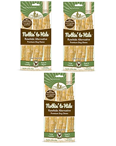 Nothing to Hide Natural Rawhide Alternative Twist Stix for Dogs - 3 Pack (30 Sticks) Premium Grade Easily Digestible Chews - Great for Dental Health by Fieldcrest Farms (Chicken, Small Stix)