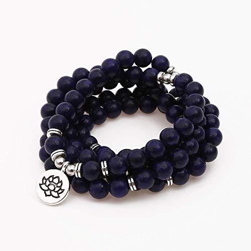 THTHT Fashion Armband 108 Kralen Handgemaakte Kralen Heren Dames Ketting Lapis Lazuli Lotus Eenvoudige Persoonlijkheid Mode Sieraden Retro