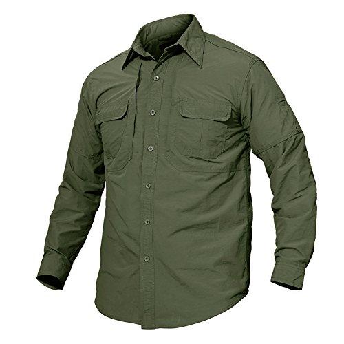 TACVASEN Chemise Manches Longues pour Hommes Protection Le Soleil Anti-UV Chemise à Manches Longues Homme Chemise Décontractée Chemise Légère à Séchage Rapide Long Sleeve Shirts