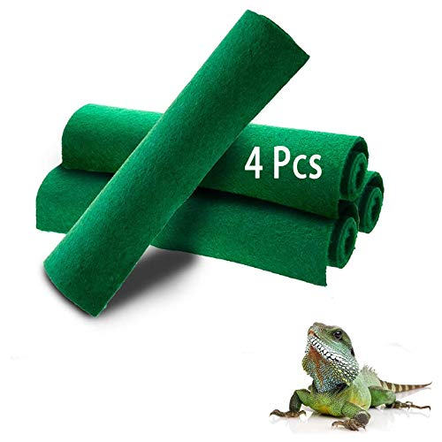 Reptile Carpet 4pcs Terrarium Substrate Liner Pet Habitat Bedding Soft Green Mat for Bearded Dragon Lizards Gecko Chamelon Iguana Turtles Snakes (19.7' x 11.8')