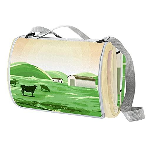Vito546rton Impermeable portátil al aire libre paisaje impresión vaca picnic manta Mat con correa para acampar senderismo hierba viajes 57x59in