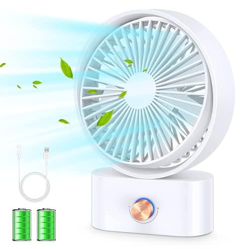 【2021最新版&10段階風速調節&自動首振り】扇風機 USB充電式 卓上扇風機 ミニ扇風機 超強風 20dB静音 5200mAh 最大24h連続使用 7枚羽根 手動60°角度調整可 リズム風搭載 usbファン 自宅/オフィス/化粧/洗面所/トイレにも使用可能 ホワイト