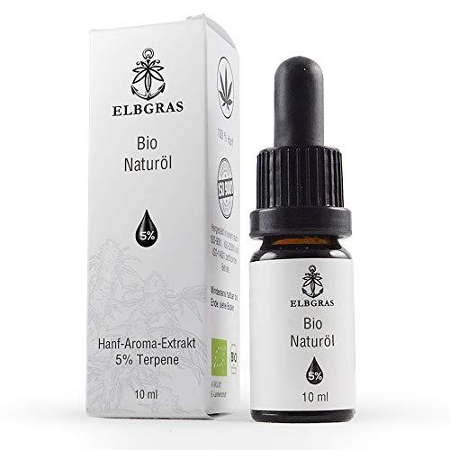 Elbgras® Bio - Naturöl | Deutsches Bio-Produkt mit Zertifikat | Bio Hanfsamenöl mit 5 Prozent Bio Hanf - Aroma - Terpenen | 10 ml Inhalt – 250 Öl - Tropfen