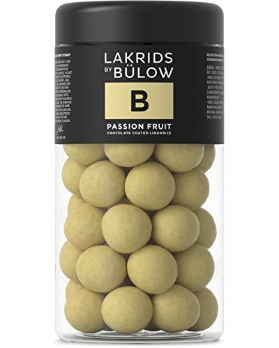 LAKRIDS BY BÜLOW - B - Passion Fruit - 295g - Dänische Gourmet Lakritz-Kugeln - Süßer Lakritzkern umhüllt von Weißer Schokolade & Passionsfrucht - Süßigkeiten Geschenk für Lakritze Liebhaber