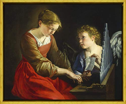 Berkin Arts Orazio Gentileschi Framed Giclee Print On Canvas-Famous Paintings Fine Art Poster-Reproduction Wall Decor(and Giovanni Lanfranco St. Cecilia and an Angel) #XLK