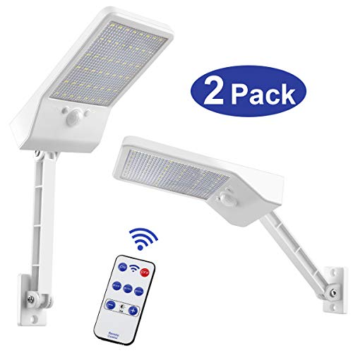 Aqonsie 48 Led Remote Solar Lights Outdoor 180° Adjustable Angle Security Night Light Wireless Motion Sensor Remote Control & 3 Lighting Modes with Mounting Rod for Courtyard Deck Path Home 2 Pack