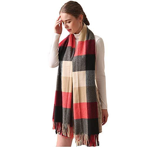 LJYTWY Sjaal voor dames, winter dik, warm, oversized Tassel Plaid Stripe Blanket plafond sjaal en wraps Poncho, 200x70cm