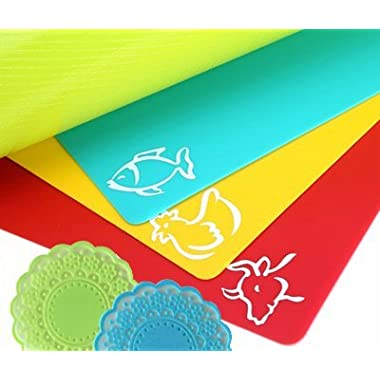 Extra Thick Flexible Plastic Cutting Board Mats for kitchen - Large - set of 4 flexible color coded cutting mats with Food Icons by La Pomelo