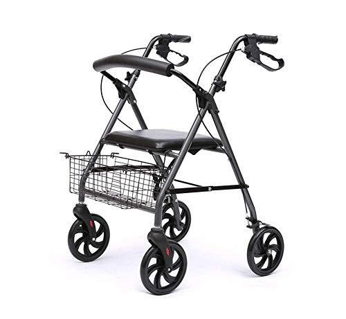 Z-SEAT Elderly Walker, Aluminium Allrad-Rollator-Gehhilfe mit gepolstertem Sitz Einkaufskorb Abschließbare Bremsen Ergonomische Griffe Leichter klappbarer Rollator Walker