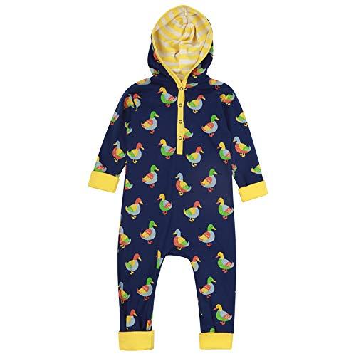 Piccalilly Barboteuse à capuche pour bébé + tout-petit, jersey doux, coton biologique, imprimé canard unisexe pour filles et garçons - Bleu - 2 mois