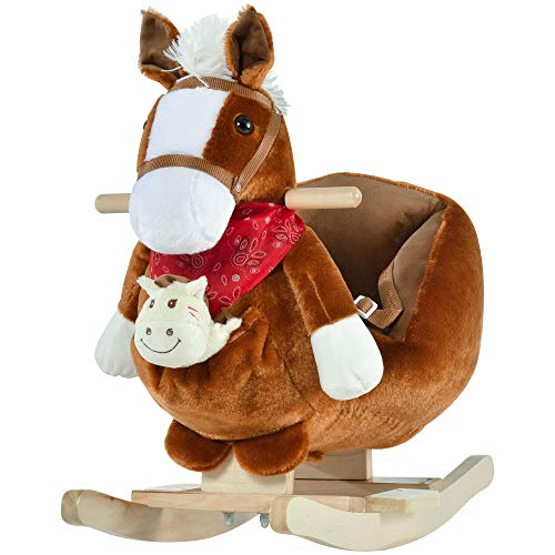 Qaba Kids Ride-On Rocking Horse Toy Rocker with Fun Song Music & Soft Plush Fabric for Children 18-36 Months, Brown