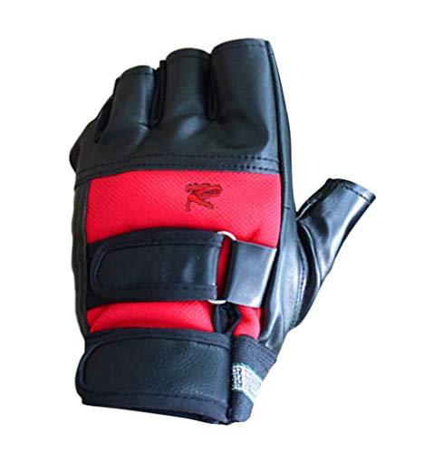 Plus Nao(プラスナオ) トレーニンググローブ フィンガーレスグローブ ウエイト フィットネス パンチ 指なし手袋 マジックテープ 滑り止め付 - レッド