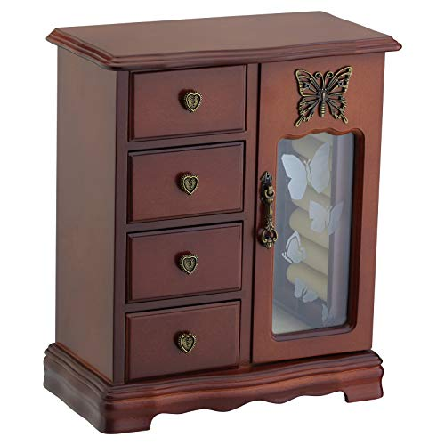 Solid Wooden Jewelry Box Makeup and Organizer Women Ring Storage with 4-Drawers Built-in Necklace Carousel and Mirror Brown