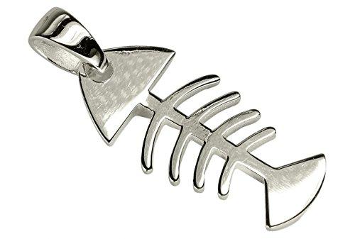 SILBERMOOS Anhänger Fisch Skelett Fischgräte Gräte 925 Sterling Silber/Kette optional
