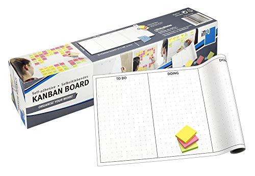 Selbstklebendes KANBAN Board, weiß mit 1 C Druck, 30 cm x 4,57 m, 8 x Motiv, teilbar durch Perforation, Set inklusive Haftnotizen 5653-43-pk-3