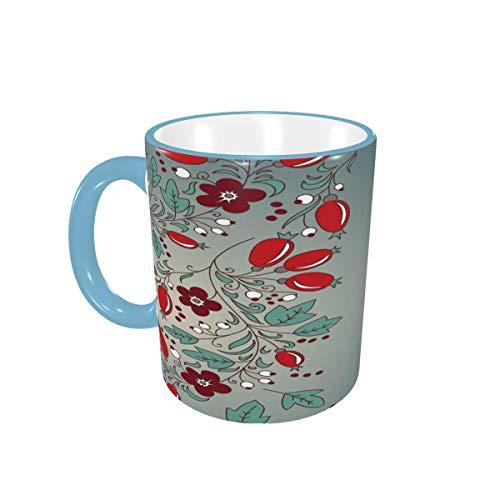 Taza de café Beautiful Cute Berry Red Fruit Tazas de café Tazas de cerámica con Asas para Bebidas Calientes - Cappuccino, Latte, Tea, Cocoa, Coffee Gifts 12 oz Forest Green