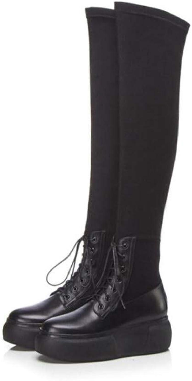 Zxcer Herbst und Winter Runde Kopf Mode mit niedrigen Ferse Stiefel Leder elastische Stiefel Frauen Herbst und Winter Stiefel