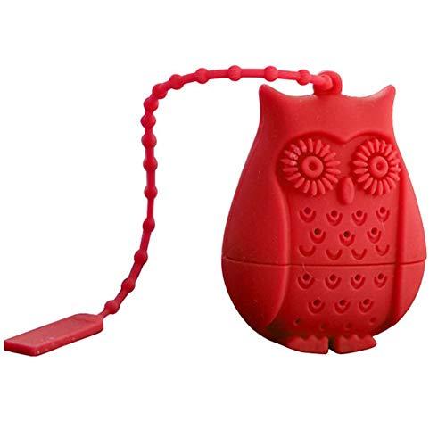 Feida silicone Owl design filtro filtro infusore per tè sfuso novità Cartoon perforato Gift Red