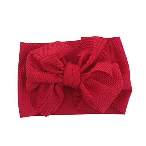 Geagodelia Turban Baby Mädchen Neugeboren Stirnband Haarband Knoten Mütze Sommer Stretch Schleife Headwear Kleinkind (Rot Schleife, OneSize)