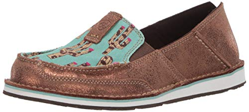 Ariat Women's Cruiser Slip-on Shoe, metallic bronze/leopard cactus, 5.5 B US