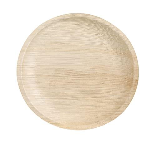 Tessera QPF25R - Platos de hoja de palma redondos de 25 cm, biodegradables, compostables, vajilla desechable para fiestas y eventos