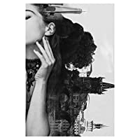 スカンジナビアのポスター黒と白のセクシーな女性の風景の橋とリビングルームの装飾のための建物のプリントとポスター40x55cmフレームレス