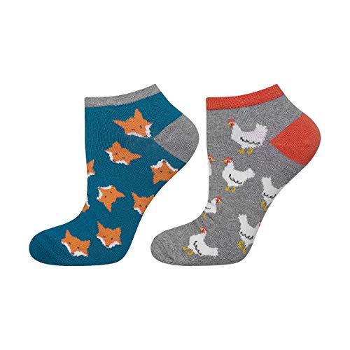 soxo Herren Sneaker Socken | Kurze Socken mit Lustigen Mustern | Größen 40-45 (Füchse und Hühner)