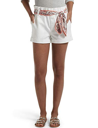 HUE Women's Paperbag Ultra Soft Denim High Waist Shorts, White, Large
