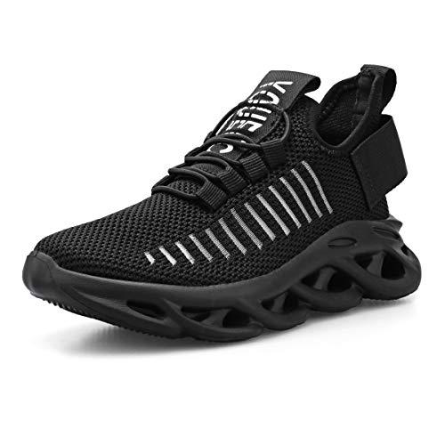 Zapatillas Niño Zapatos Deporte Transpirables Ultraligeras No Requieren Cordones Zapatillas de Correr Niños Casual Running Sneakers Negro 35