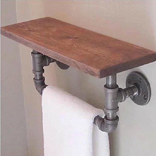 Handdoekhouder voor wandmontage, handdoekdroger, voor wastafels, badkamer, plank, van massief hout