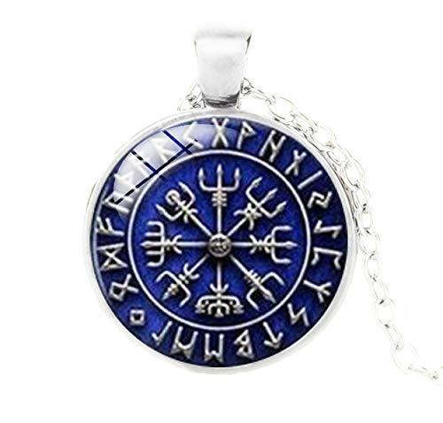 DRAKNET Colgante de Runa de círculo nórdico Vikingo Cruzado - Nórdico - Azul