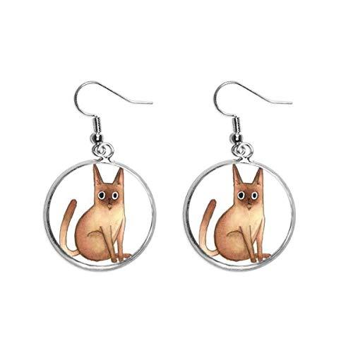 Miaoji - Pendientes de gota de plata con diseño de gato siamés, diseño de acuarela