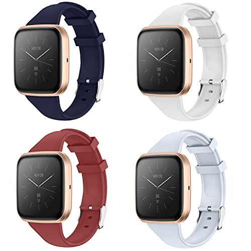 KIMILAR 4 Stücke Armband Kompatibel mit Fitbit Versa/Versa 2 / Versa Lite (Nicht für Versa 3), Soft Slim Sports Silikon Ersatzband Uhrenarmband für Versa 2 / Versa/Versa Lite für Frauen Männer