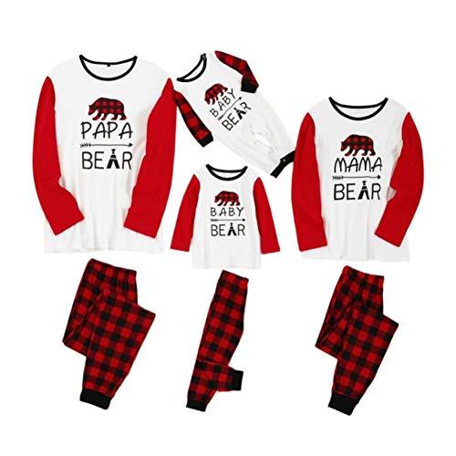 Familienpyjamas Passende Weihnachts-PJs für die Familie Papa, Mama Baby Bear Bedrucktes T-Shirt mit Karierten Hosen