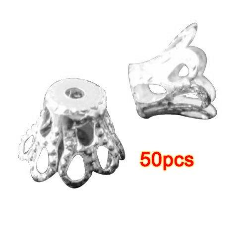 Bluetenboden - TOOGOO(R) 50 Stueck Metallkronen Perle Kappen Bluetenboden 6x5mm
