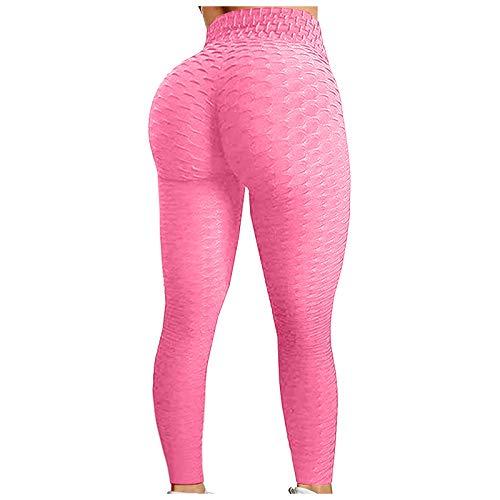 KYZRUIER Pantalones de yoga con textura de panal de abeja para mujer, cintura alta, fruncido, control de barriga, entrenamiento, gimnasio, deportes, correr