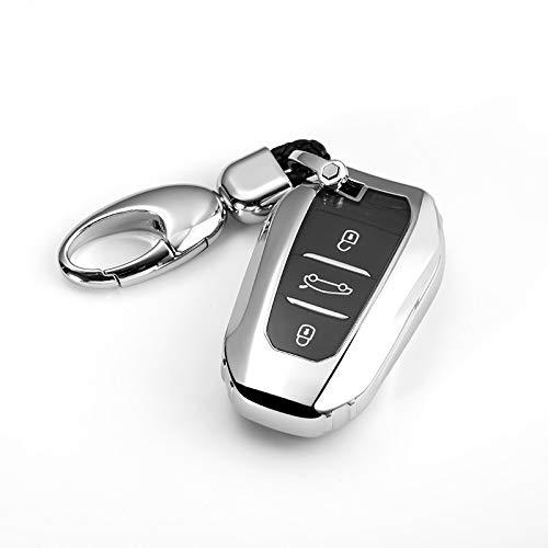 TAHAYASC Carcasa para Llave de Coche Funda de TPU Suave para Llave de Coche Smart Remote Key Cover Shell fit, para Peugeot 3008 4008 5008, paraCitroen C4 C4L C6 C3XR Accesorios Llavero