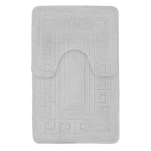 Alfombra de baño Set 2 PC Antideslizante Goma Alfombrilla para Lavabo Inodoro Baño Griego Tapete NUEVO - Plateado