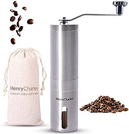 Oliver James Henry Charles Molinillo Café Manual con Moledores Ajustables y Bolsa de Viaje - Molinillo Café con Manivela Manual - Ideal para Preparar Espressos en Casa, la Oficina o de Vacaciones