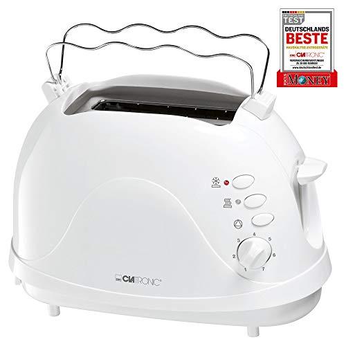 Clatronic TA 3565 2-Scheiben-Toaster, Cool-Touch Gehäuse, integrierter Brötchenaufsatz, Aufwärmfunktion, Auftaufunktion, Schnellstoppfunktion, weiß