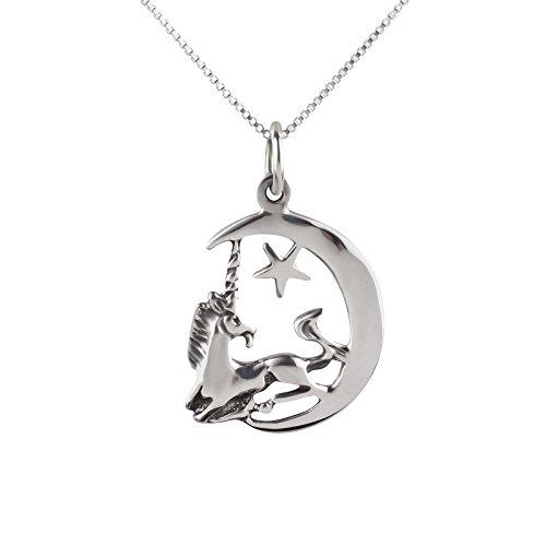 Set de cadena y colgante SL Silver, de unicornio, luna y estrella, plata 925 en caja de regalo